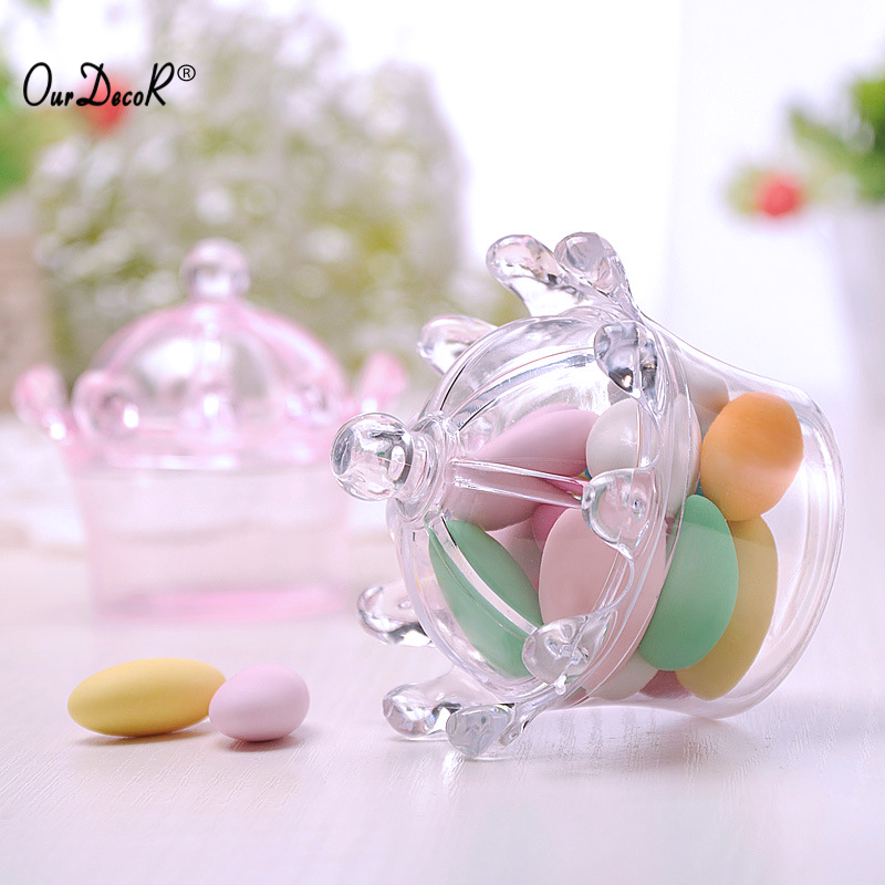 60pcs Plastic Transparent Crown Candy Boxes Baby Shower Birthday Party Favor Box New Year Decoration Event Party Supplies