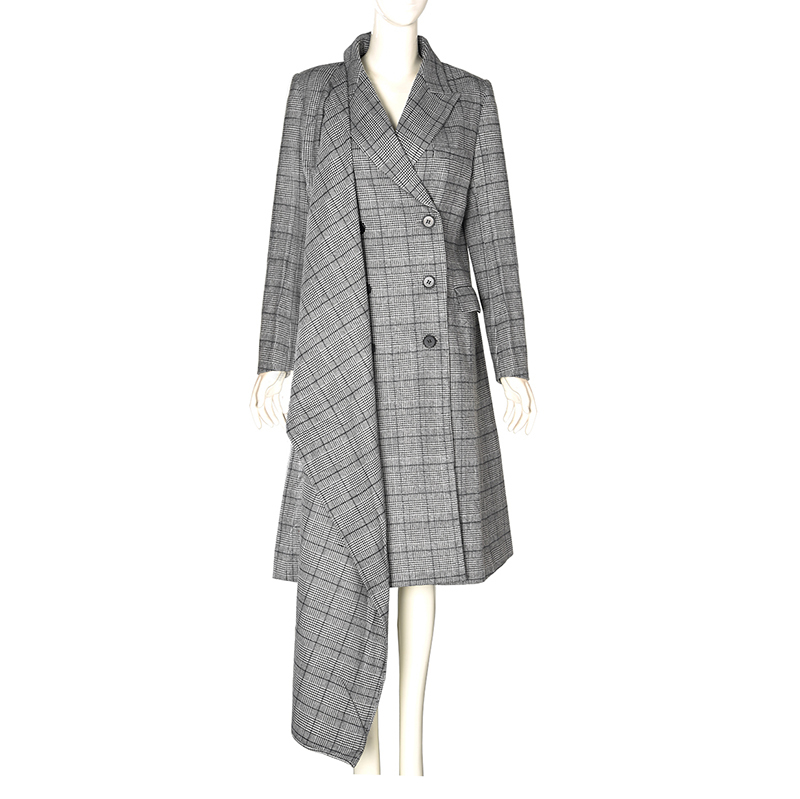 Femmes Gris Printemps 2019 Nouveau Plaid Longue Revers eam Longues Couture Veste Jg626 Gray Irrégulière Manches Manteau Personnalité Lâche HwqYxE66d