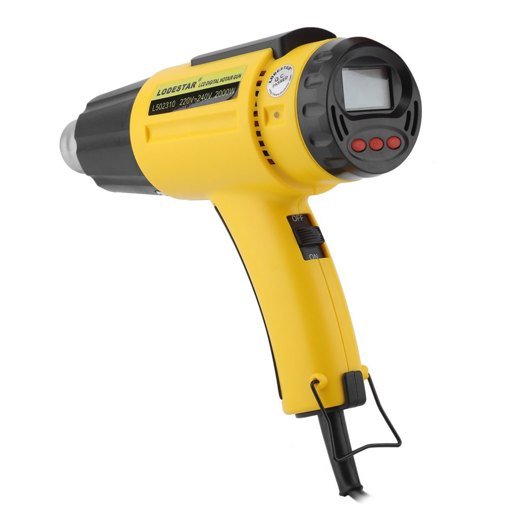 LODESTAR 2000W Electric Hot Air Gun Heat Gun +Nozzle Temperature Adjustable Hand Held Paint Stripper Air Blower with LCD Display