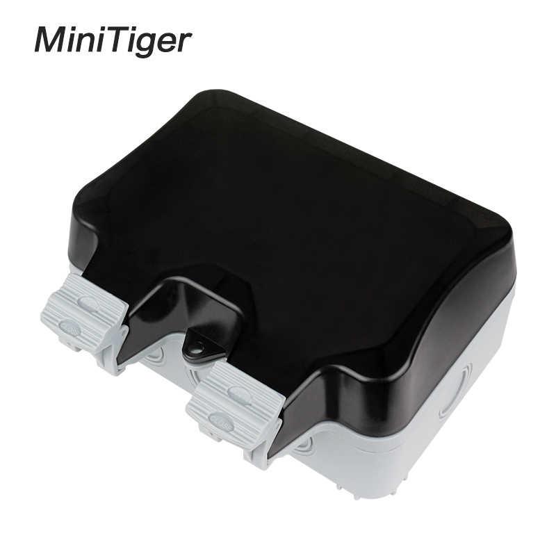 Minitiger IP66 odporne na warunki atmosferyczne wodoodporny zewnątrz ścienne gniazdo zasilające 16A podwójne standard ue gniazdko elektryczne uziemione AC 110 ~ 250V