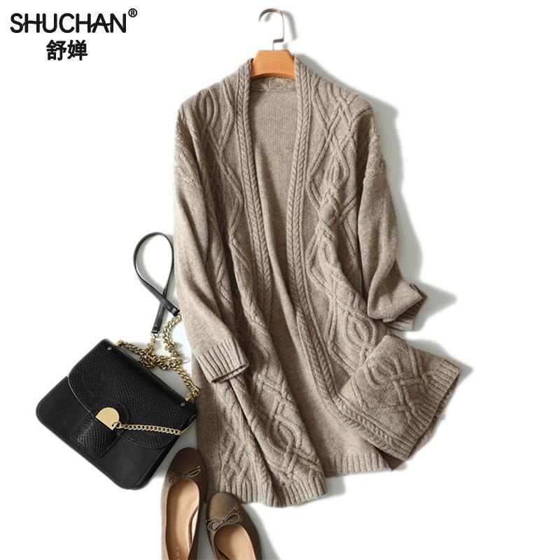 Shucha кардиган свитеры для женщин для 100% кашемир пальто вязаный край с длинным рукавом повседневное верхняя одежда 2018 зимние