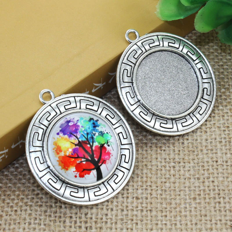 цена на Zinc alloy Silver Simple Necklace Pendant 5pcs 25mm Inner Size Cameo Cabochon Base Base Tray Bezel Blank F-031104