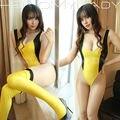 2016 New Super Sexy conjunto de Lingerie para mulheres alta corte elogio Patchwork Bodysuit impactando a meias coloridas para dia dos namorados S