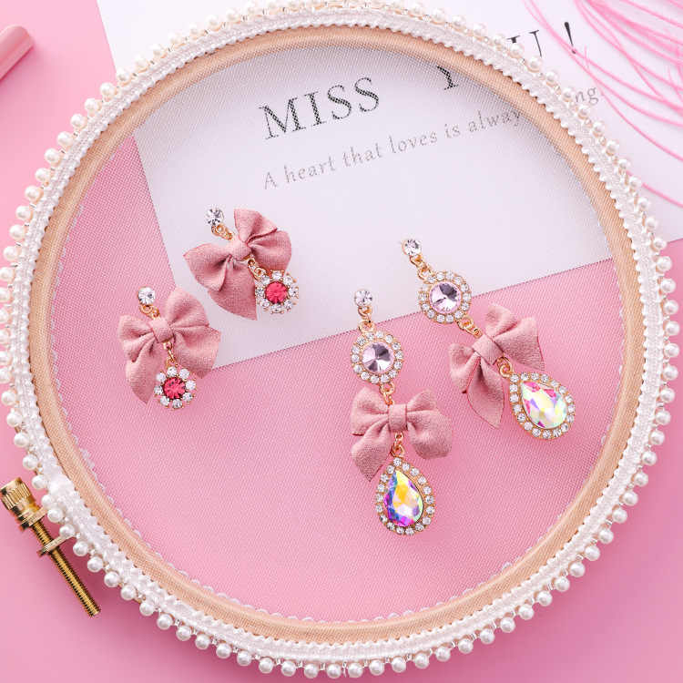 MENGJIQIAO 2018 nuevos pendientes colgantes de lazo rosa coreano para mujeres pendientes de gota de diamantes de imitación joyería de moda dulce regalo de Navidad