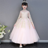 Autumn Winter Elegant Children Girls Long Sleeves Birthday Wedding Party Dress Kids Teens Host Piano Pageant Clothes Dress Wear