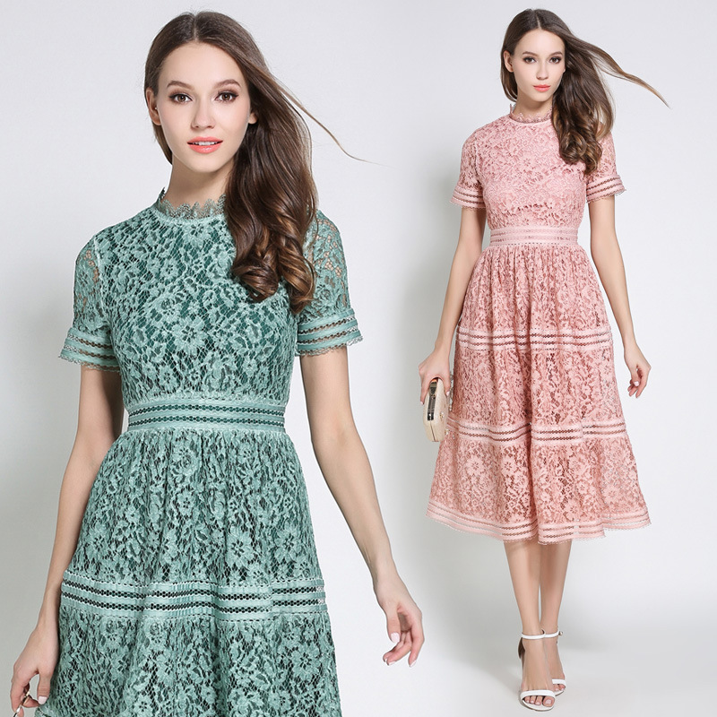 Europe and the United States 2018 summer women 39 s new European and American elegant slim large color long lace dress in Dresses from Women 39 s Clothing