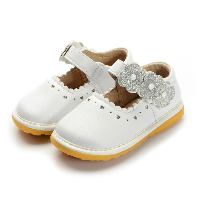 2016  White Wedding Dress Shoes 1-3Y Princess Leather Shoes  Baby Girl Squeaky Shoes