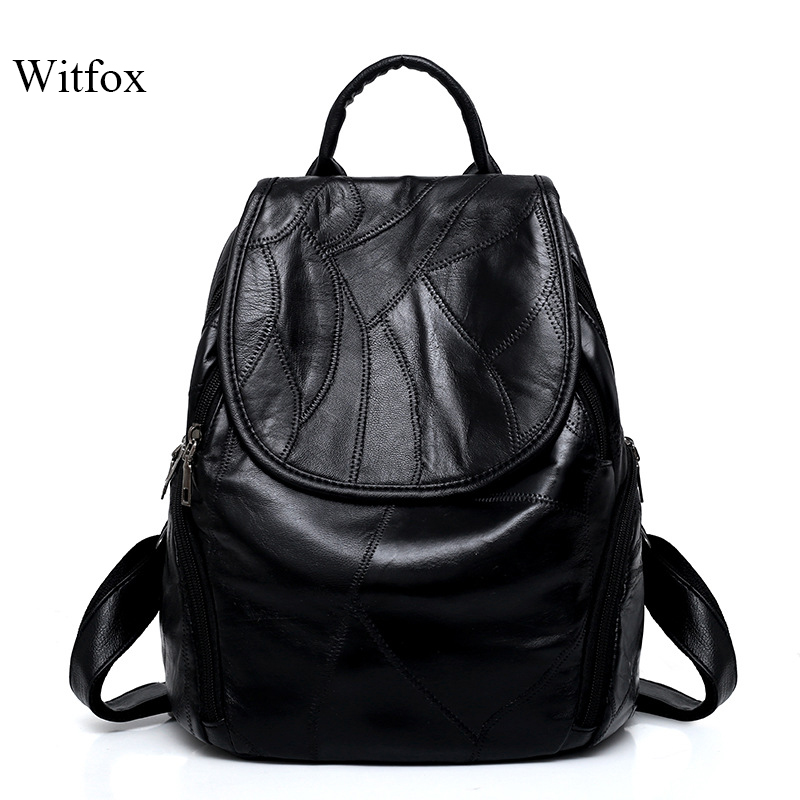 Sheepskin Leather Backpack For Women Luxury Genuine Leather Ladies Bags Big Capacity Cell Phone Pocket Book Shell For School