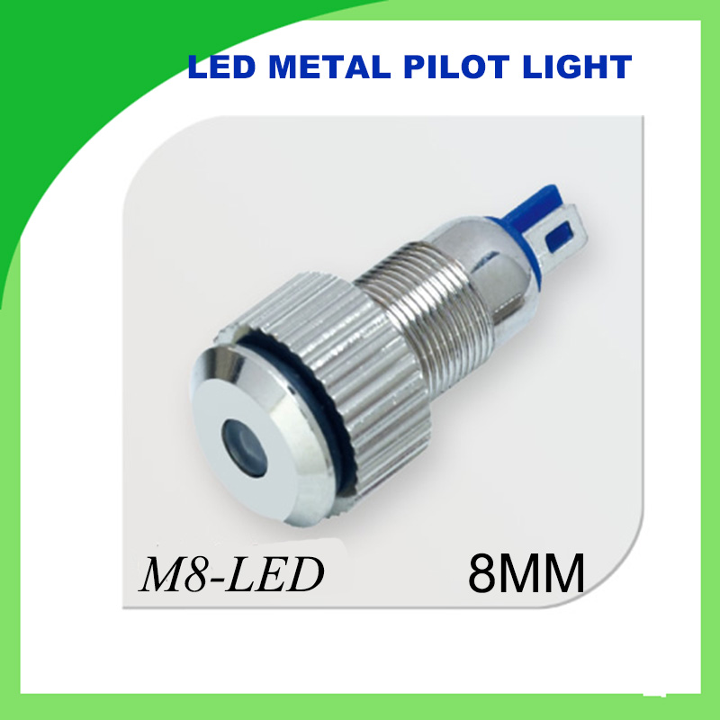 8mm LED metal pilot light waterproof home decor