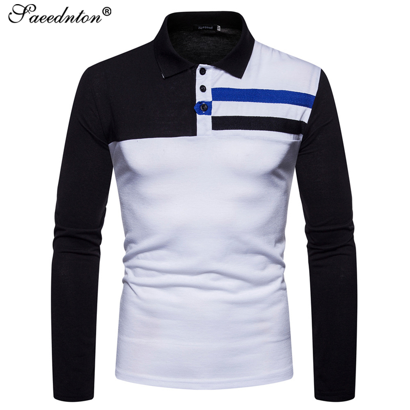 Polo   Shirt Men 2019 Autumn Spring Brand Men's Cotton Patchwork Long Sleeve Casual   Polos   Shirts Homme Breathable Tops Tees Shirts