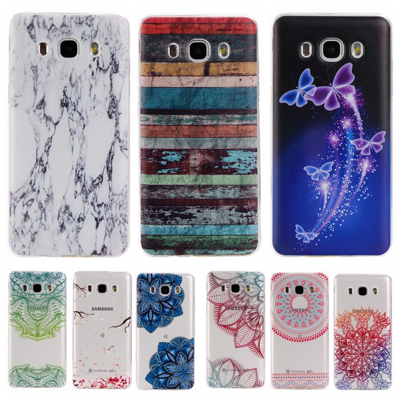 Colorful TPU Case sFor Coque Samsung galaxy J7 2016 J710F J7100 Floral Clear Soft Gel Transparent Case Cover For Galaxy J710