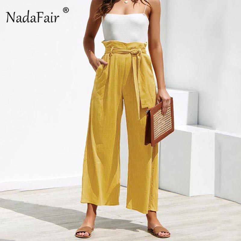 Nadafair Casual High Waist Straight Pant Women Belted Wide Leg Capris Trouser Spring Summer Ankle-length Pants Female
