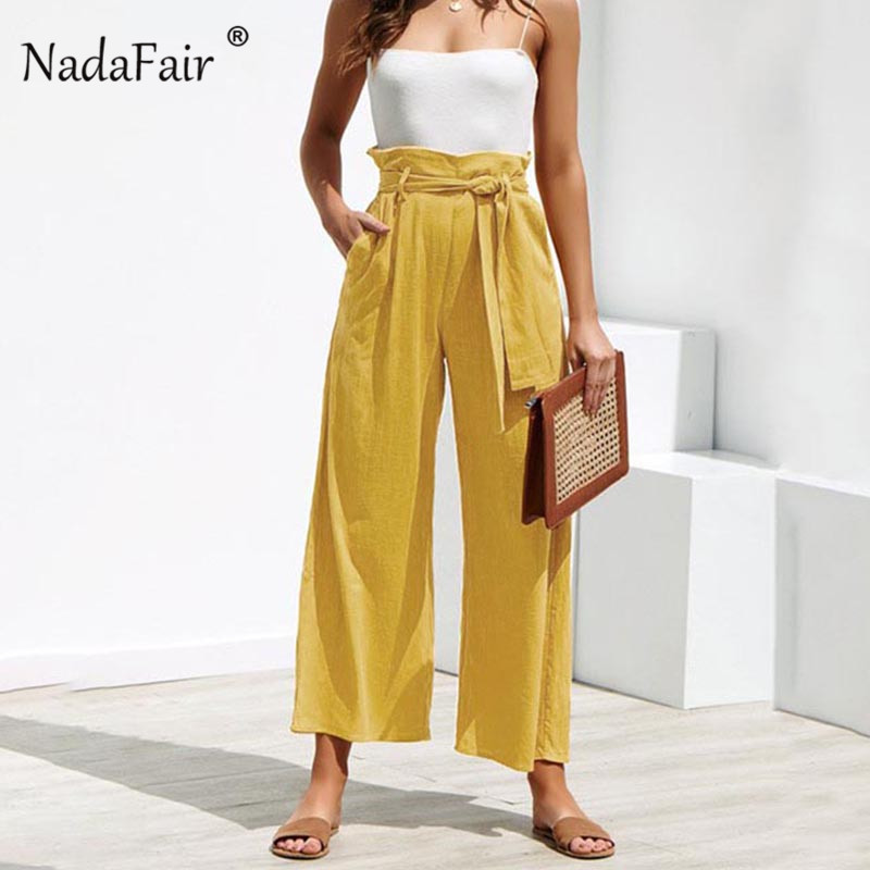 Nadafair Casual High Waist Straight   Pant   Women Elastic Waist Wide Leg   Capris   Trouser Spring Summer Ankle-length   Pants   Female