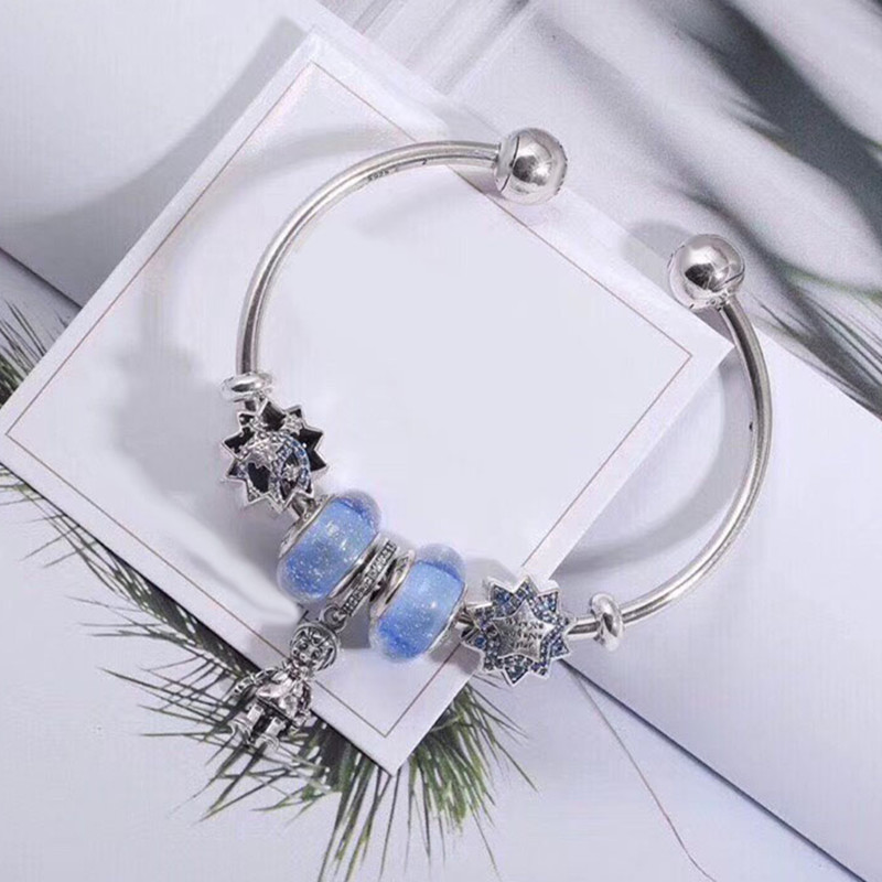 WinTion PAN Sterling Silver S925 Blue Glass Beads Stars Cartoon Kids Pendant Classic bead bracelet With elegant temperament pdrh010 colorful glass bead classic bracelet