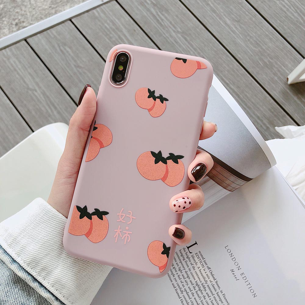 Heyytle Cartoon Fruit Pattern Case For iPhone 8 7 Plus 6 6s Cover Ultra Thin Milk Tea Case For iPhone X XS MAX XR Couple Fundas