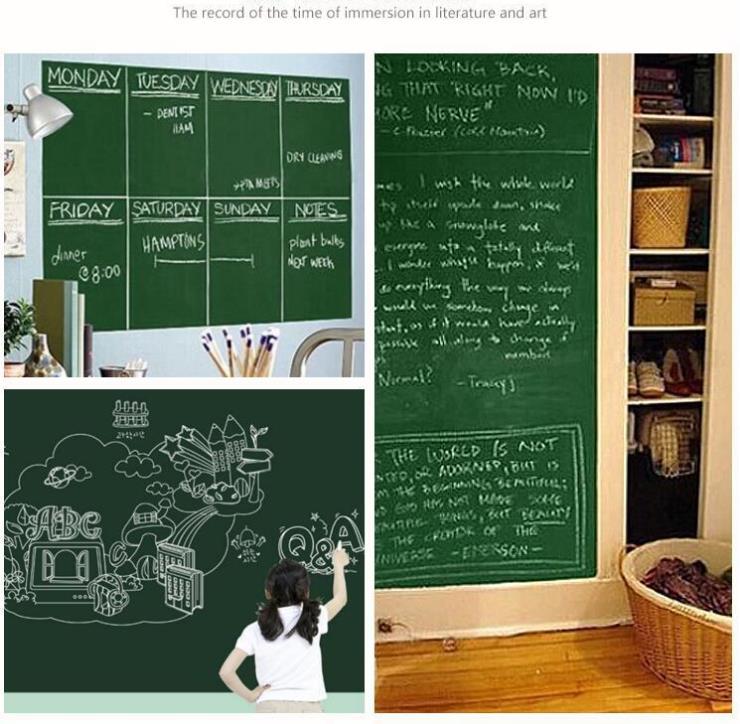 [4Y4A] 45x100cm Blackboard Paper Waterproof Tutor Blackboard Stickers Removed Green Board Paste Whiteboard