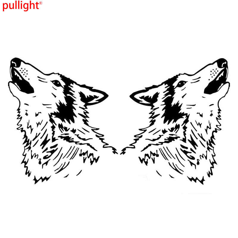 2 X Large Car Styling Howling Wolf Head Van Truck Car Sticker Vinyl Decal hot sale 1pc longhorn hilux 900mm graphic vinyl sticker for toyota hilux decals badges detailing sticker car styling accessories
