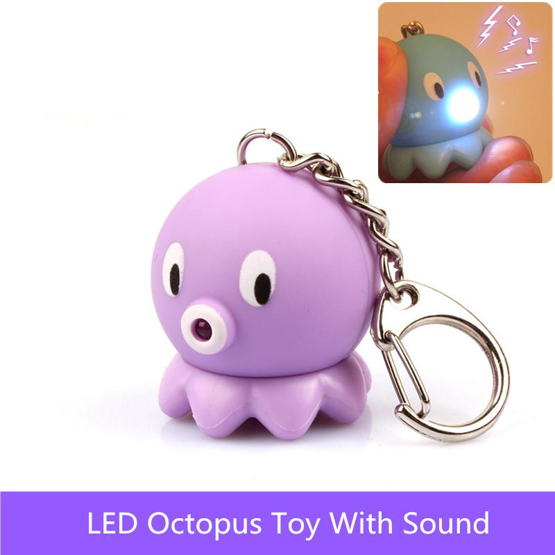 Kawaii New Arrival LED Sea Animal Octopus Action Figure Toys With Sound Keychains Kids Gifts Wholesale