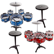 27'' Jazz Drum Set with Chair Kids Early Education Toy Percussion Instrument for Children Birthday Gift