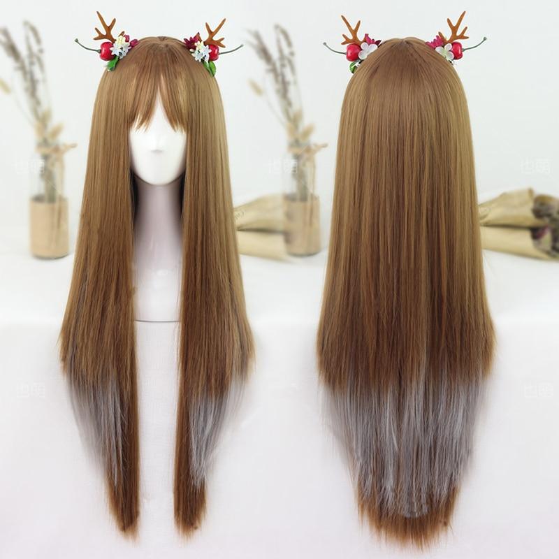 70cm Lolita wigs long straight fish bone braids light brown gradient Japanese Harajuku wind girl cos+ cap No Headwear