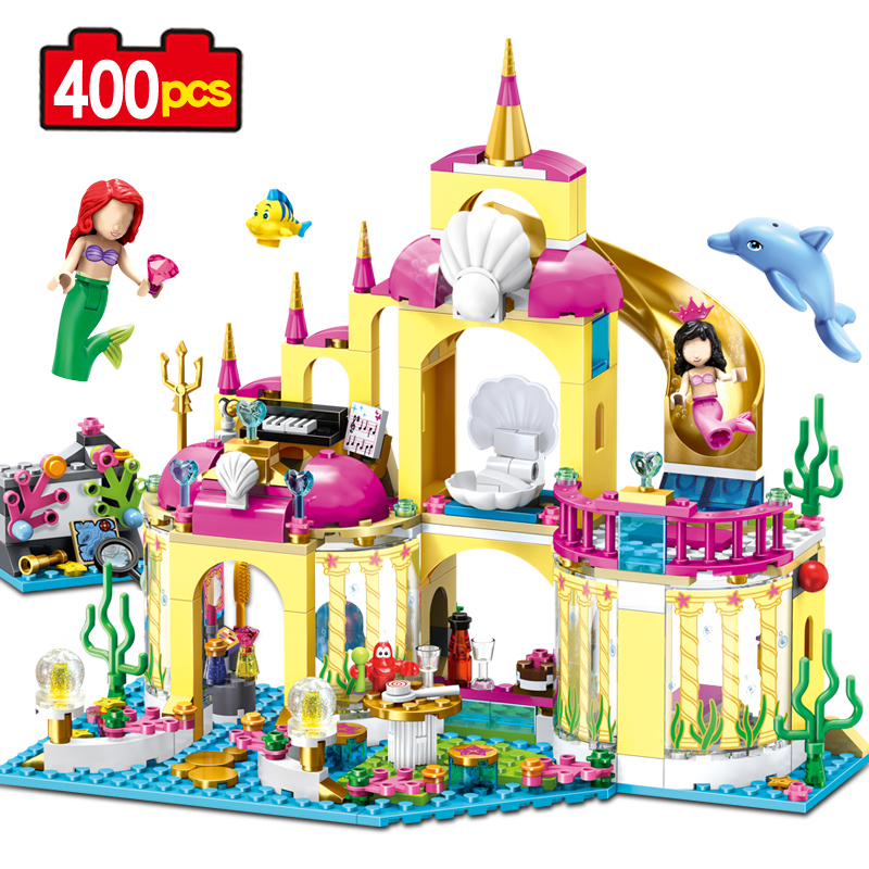 Girl Series 400pcs The Princess Ariels Undersea Palace Castle Set Building Bricks Bricks Action Figure Toys Gift Children lepin diy girl friends series the undersea palace set castle building blocks bricks toys for children compatible with legoingly