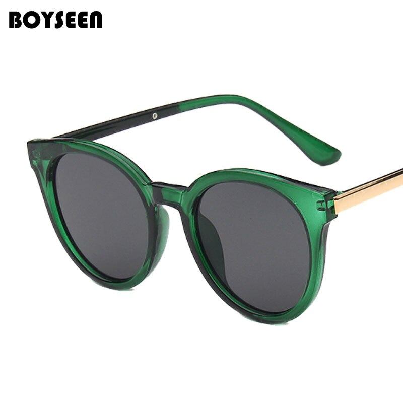 BOYSEEN 2017 Stylish Transparent Cat Eye Sunglasses Women Men Luxury Designer Clear SunGlasses Integrated Goggles Red Candy 5130