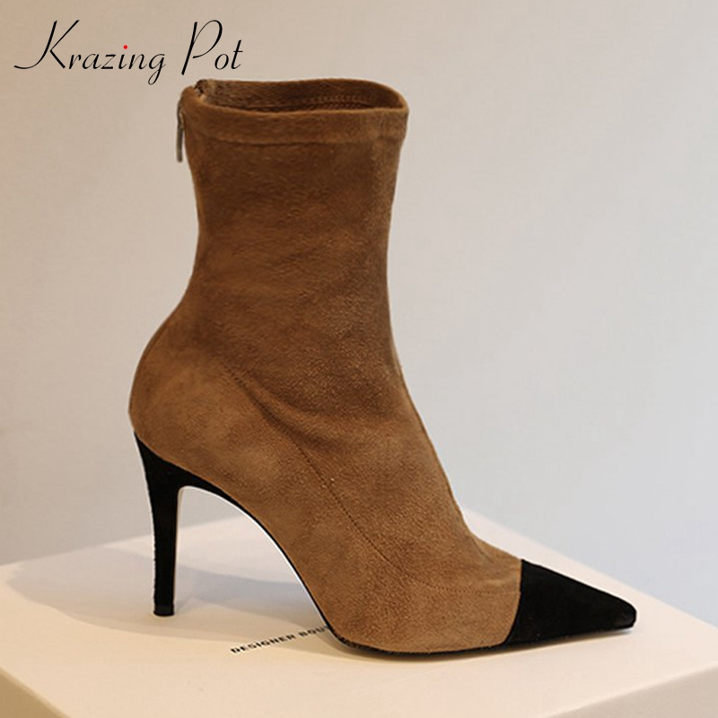 Krazing Pot flock mixed color boots style pointed toe stiletto thin high heel keep warm beauty