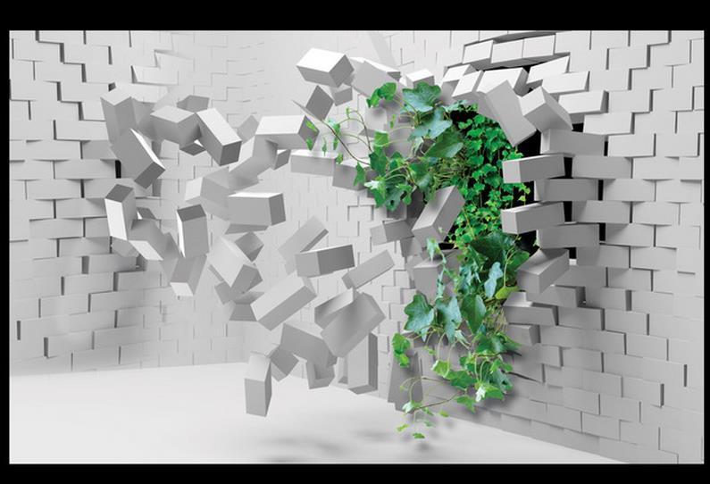 Free Shipping Modern Wall 3d Murals Wallpaper Hd 3d Brick