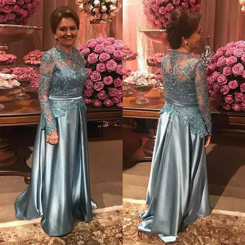 Elegant Lace Mother Of Bride Dresses Long Sleeves Jewel Lace Appliqued A Line Party Gowns Women Formal Dresses Evening gown