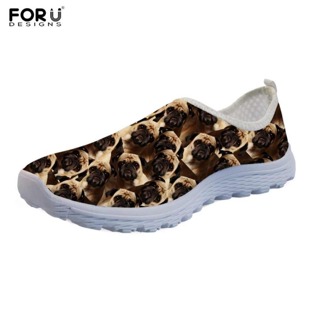 FORUDESIGNS Pug Terrier 3D Animal Printing Women Flats Shoes Custom Brand Design Slip On Mesh Sneakers Spring Walk Shoe Footwear