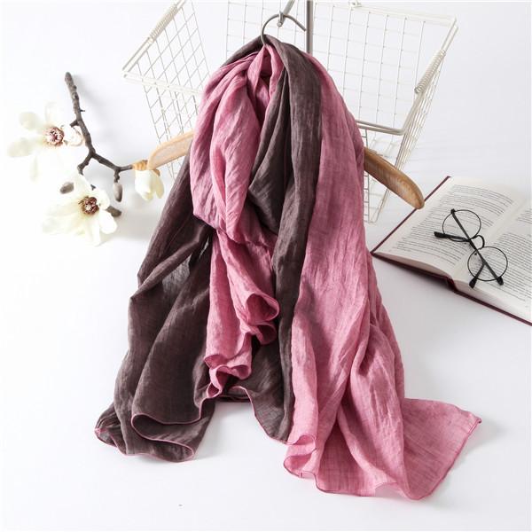 De dos colores de primavera y otoño invierno bufanda femenina fluido patchwork vlsivery cabo grande de la bufanda de algodón de lino del todo-fósforo del envío libre
