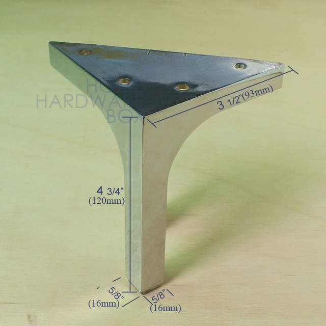 Placeholder Sofa Legs Metal Feet Chrome Finish Pack Of 4 Corner Leg Stand 12cm Height