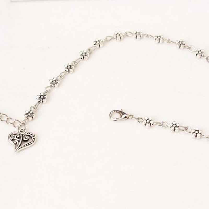 Горячая Мода ретро ювелирные изделия, древнее серебро полый цветок сливы ножные браслеты, в форме сердца ножные браслеты для женщин Sandalias Mujertrendy лето