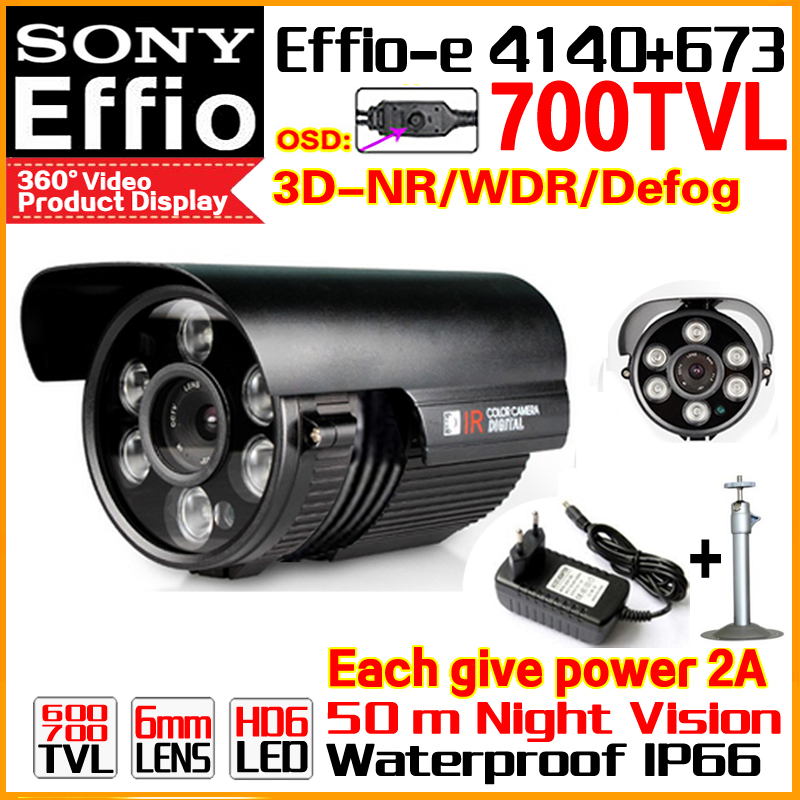 High-End SONY Camera 1/3CCD Effio 4140+673 Ccd 700TVL Outdoor Waterproof 66 OSD Menu Infrared Array HD Night Vision 50m Bracket 1 3 sony ccd effio e 700tvl 673 4140 osd menu array leds ir 30m outdoor waterproof cctv camera with bracket cy 90v c2010d