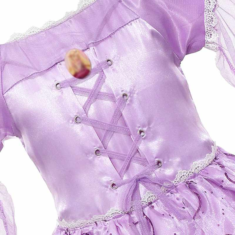 6f28475b06026 MUABABY Girls Rapunzel Dress up Clothes Flying Sleeve Floral Print Tangled  Princess Costume Kids Halloween Party Cosplay Dresses