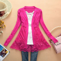 Free Shipping 2014 New Arrival Woman Sweater Thin Outerwear Cardigan Cutout Sweater Lace PLUS SIZE Cardigan