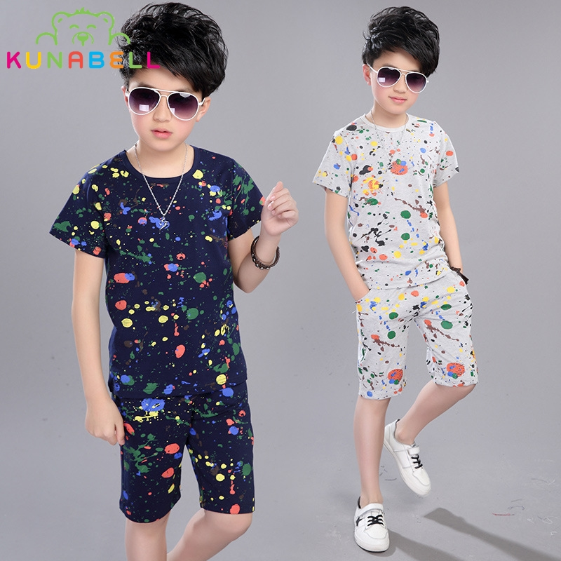Boys Cotton Suits Summer Clothes Sets for Teenagers Tracksuits for Kids Tees & Pants Suits for Boy Clothing Set Baby Outfit W9 children s clothing set pajamas sets kids girls tshirt pants newborn baby boys clothes set cotton children boy suits outfit