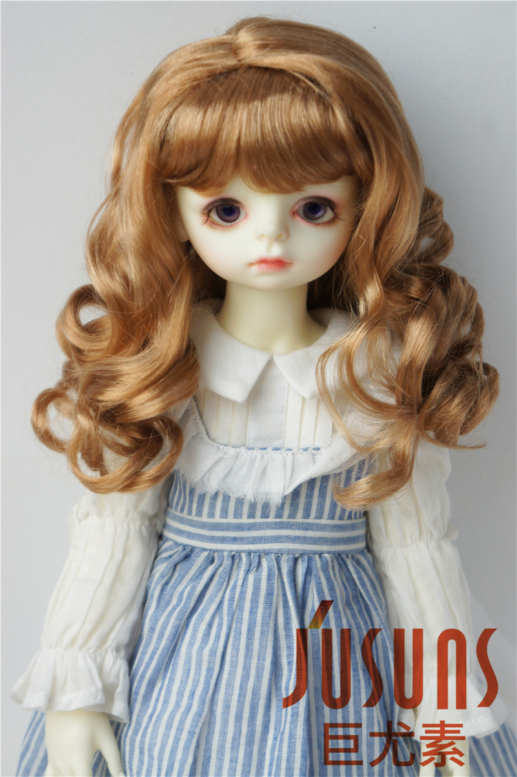купить JD038 SD synthetic mohair doll wig 1/3  Eraser Long curly wig  for BJD dolls soft hair size 8-9 inch Resin doll wigs дешево