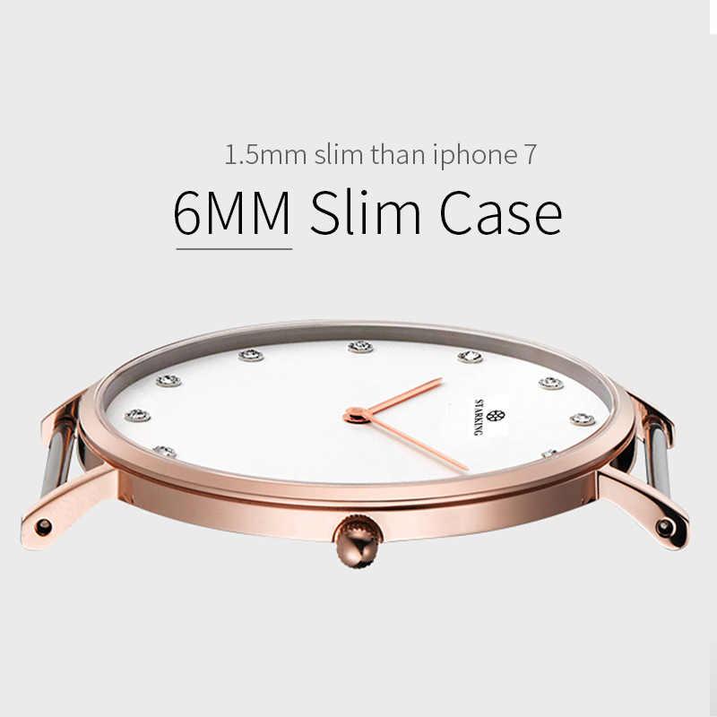 STARKING 6MM יוקרה מקרית ניו Relogio זוג שעונים זוג גברים ונשים קוורץ Slim פשוט סגנון עור יד שעונים hodinky
