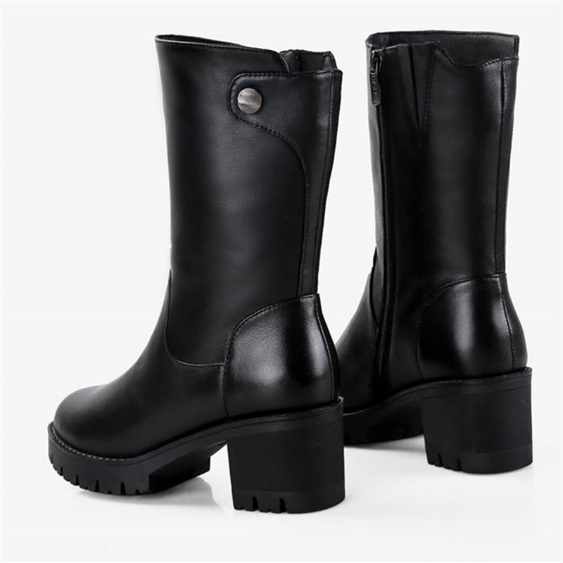 Image 5 - MORAZORA 2019 russia genuine leather natural wool boots round toe zip warm snow boots comfortable mid calf boots women shoes-in Mid-Calf Boots from Shoes