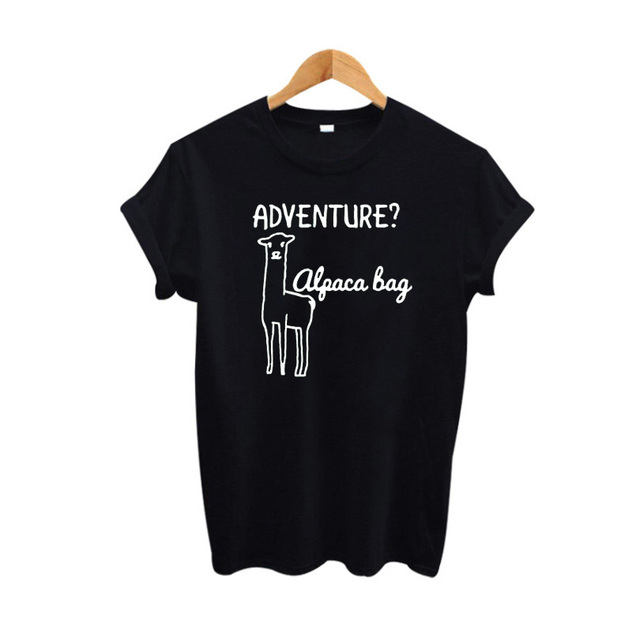 bfdf8d251 Cute Alpaca Llama T-shirt Cartoon Graphic Tees Women Tops Summer 2018  Hipster Funny t shirts Black White Tee shirt Femme