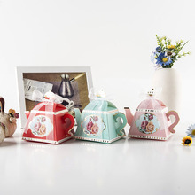 50pcs/lot Teapot design Candy Gift Boxes Wedding Dragee Box Favors Packaging for Event & Supplies