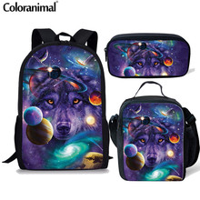 Coloranimal 3pcs Set Girl Boy Backpack Purple Space Stars Galaxy Wolf Schoolbag College Student Mochila Rucksack Kid School Bags