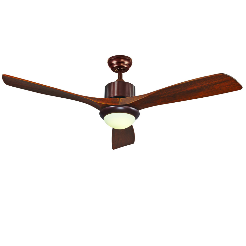 Wood Ceiling Fan 52inch 3 Leaf Led 40W included with 2 size Rod for livingroom Bedroom Dinning Room ...