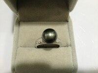 10 11MM Real Pearl Ring Tahitian Pearl Ring 925 Sterling Silver Pearl Ring Black Pearl Ring For Women Free Shipping