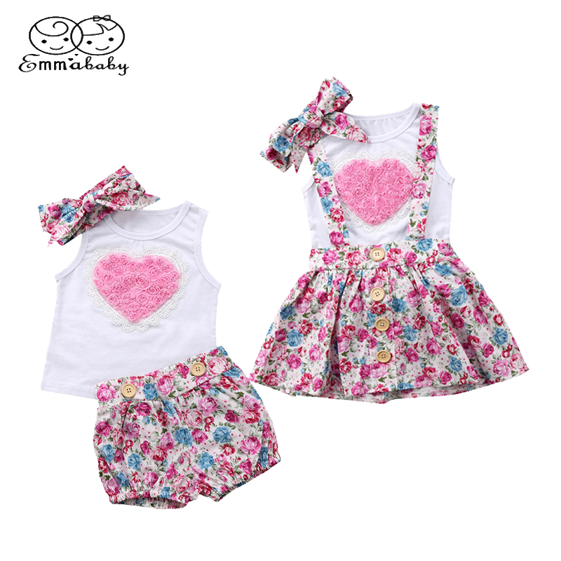 Emmababy Summer Girls Clothing Set 3PCS Infant Baby Girl 3D Love Print Vest T-Shirt+Cute Floral Shorts/Skirts+Hairband Outfits