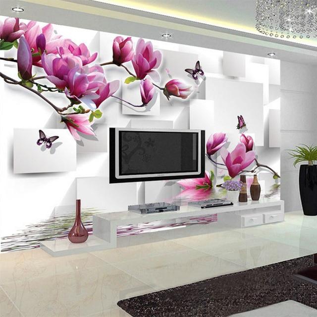 Modische Innen Design Foto Tapete 3D Stereo Quadrat Orchidee Reflexion  Ästhetischen Wandbild Wohnzimmer TV Hintergrund Tapete