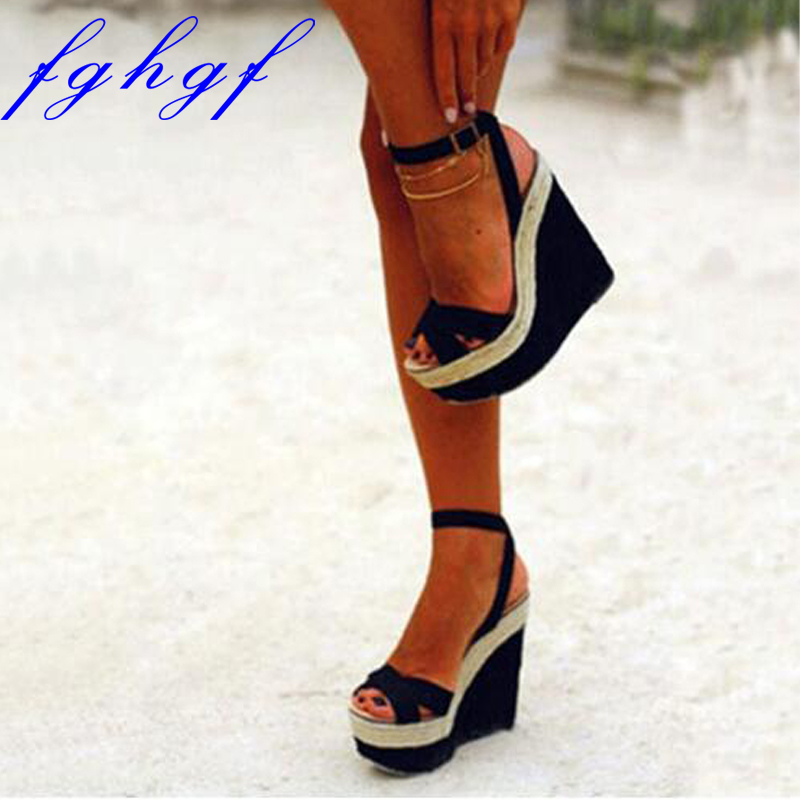 Sweet are free shipping black cashmere leather buckle 5 cm waterproof 15 cm stiletto sandals wedge