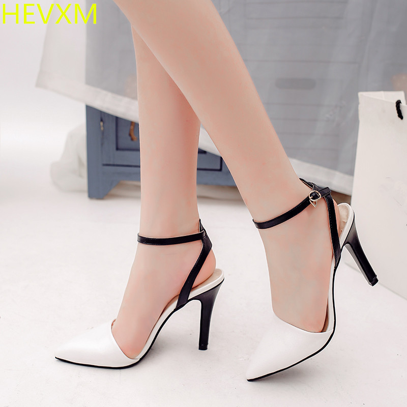 HEVXM 2017 new autumn women's fashion buckle with stripes wild high-heeled boots women sexy nightclubs OL work high heels pumps цена 2017