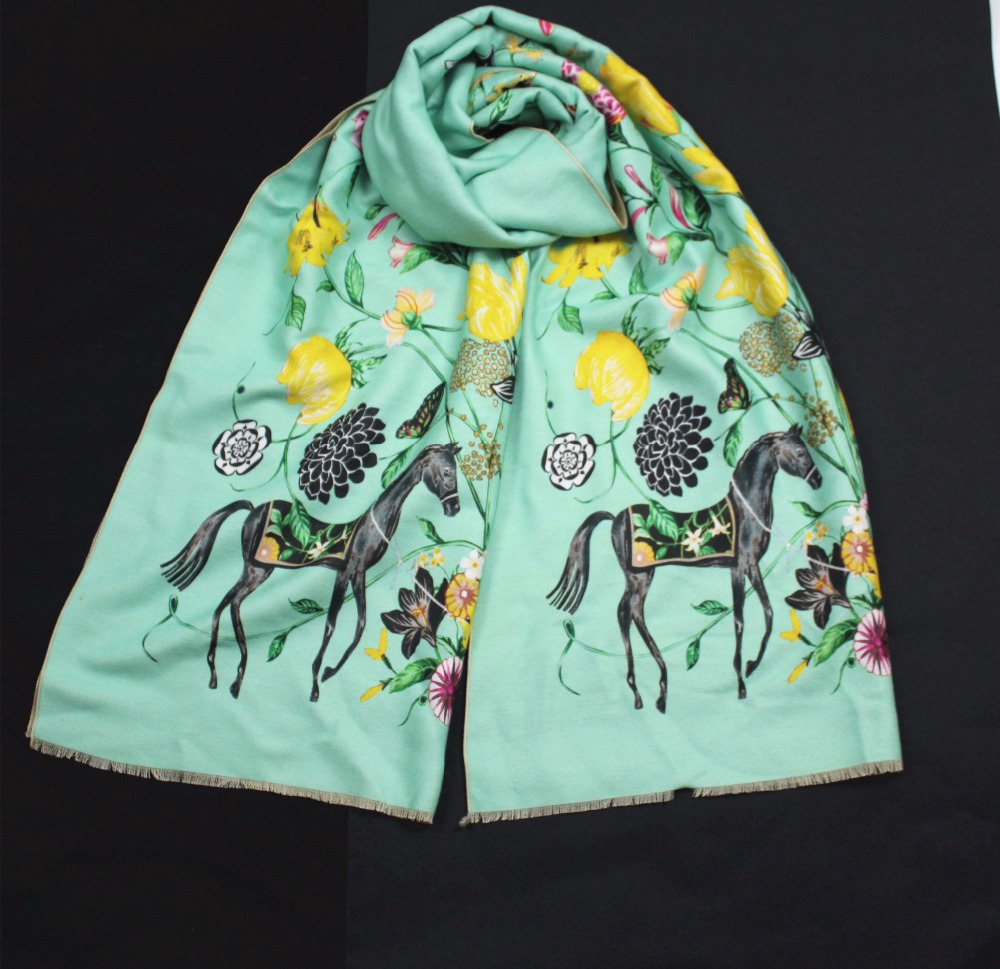 New style women autumn winter cashmere long   scarf   thick warm animal horse flower soft pashmina   wraps   high quality